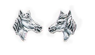 Silver Horses Head Stud Earrings Equestrian