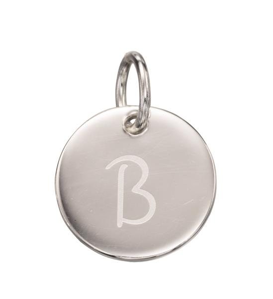 Silver Initial B Disc Pendant