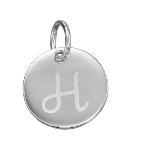 Silver Initial Tag H Letter Disc Charm