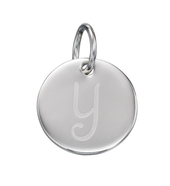Silver Initial Y Pendant Round Disc