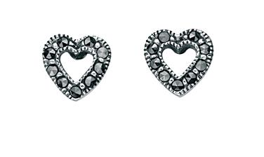 Marcasite Open Heart Stud Earrings