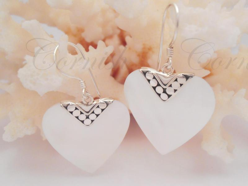 Silver Mother Of Pearl Heart Earrings