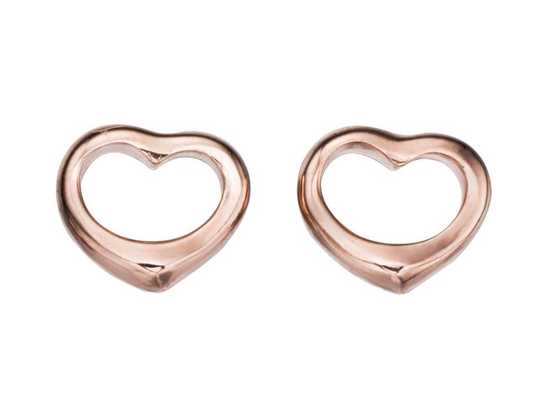 Open Rose Gold Plated Heart Studs