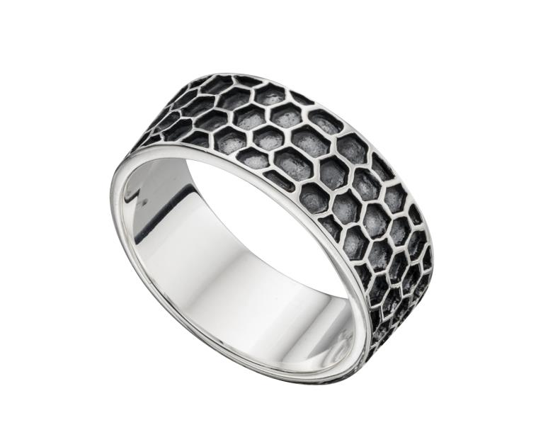Silver Oxidised Honeycomb Mens Band Ring