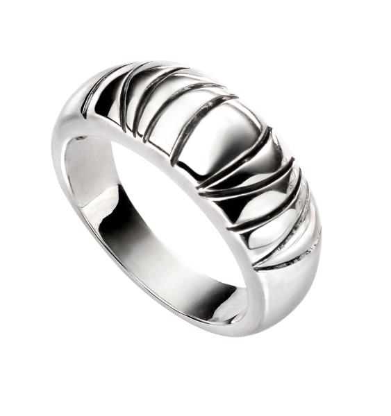 Oxidised Wavy Line Ring
