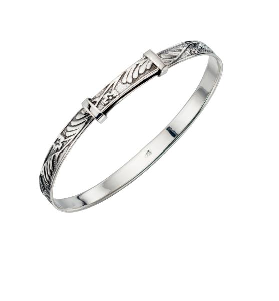 Silver Pattern Baby Christening Bangle Bracelet
