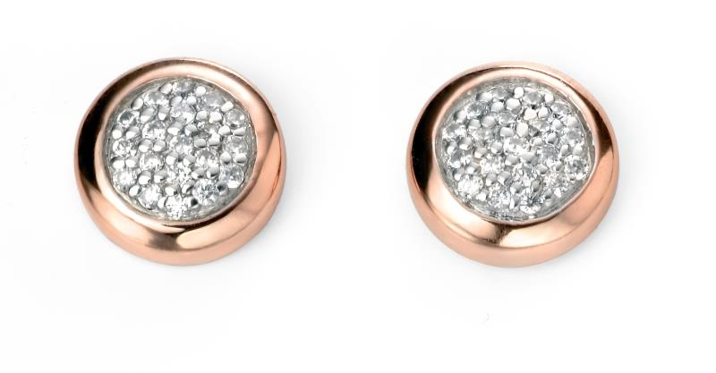Pave Earrings With Rose Gold Surround