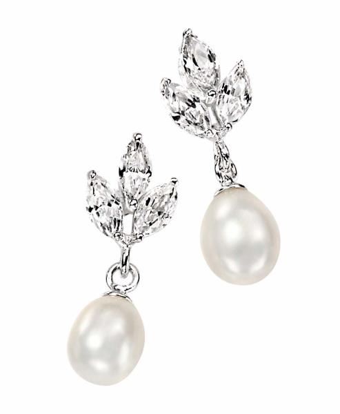 Silver Pearl Earrings With Triple Marquise Cz