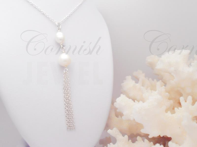 Silver Pearl Necklace Lariat Tassel Chain 17 1/2""
