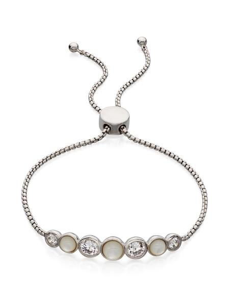 Silver Pearl Toggle Bracelet