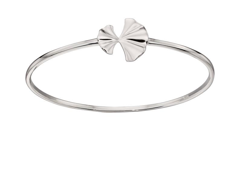 Silver Plated Ginkgo Leaf Bangle