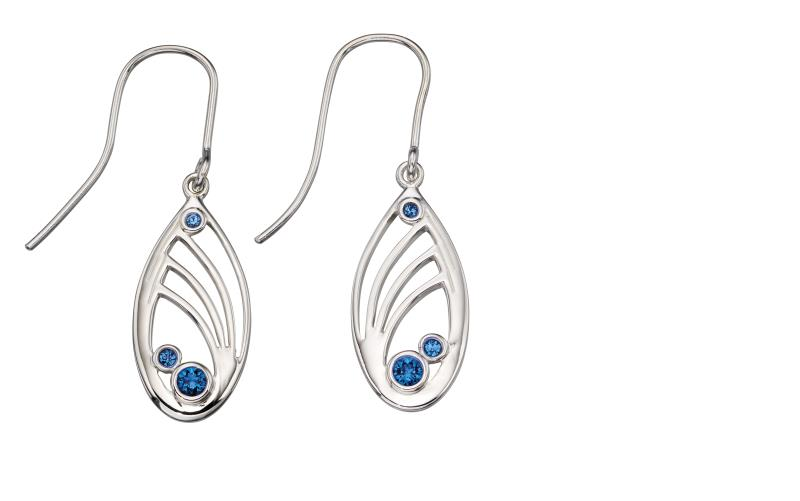 Silver Quilling Design Swarovski Sapphire Earrings
