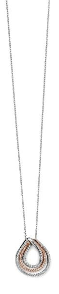 Mixed Plated Clear Pave CZ Triple Teardrop Necklace