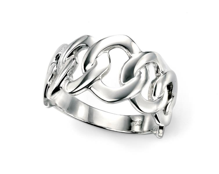 Rhodium Plated Multi Link Ring