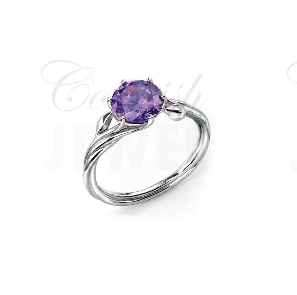 Silver Rhodium Purple Cz Ring With Leaf Detail