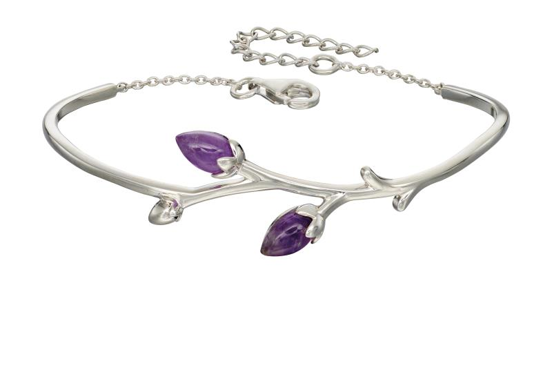 Silver Rose Bud Amethsyt Bangle
