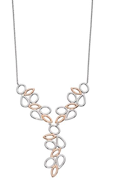 Silver Rose Gold Plated Contrast Shape Necklace