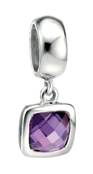Drop Spacer Charm Bead With Square Amethyst CZ