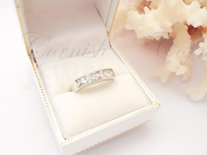 Silver Square Cubiz Zirconia Eternity Ring