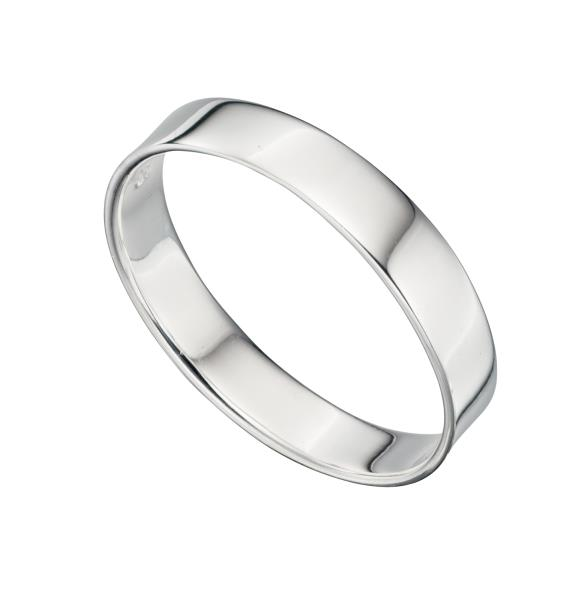 Silver Square Cut Band Ring