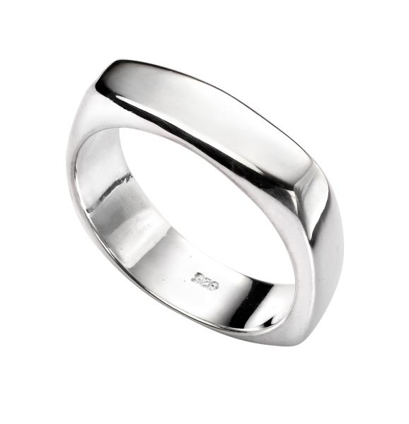 Silver Square Rounded Edge Ring