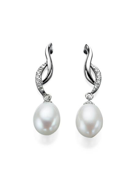Twisted Earrings With Freshwater Pearl And CZ