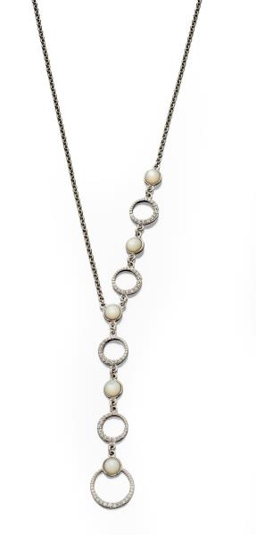 Water Pearl And Hoop Asymmetric Necklace