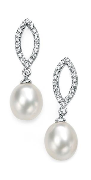 Silver White Freshwater Pearl & Clear CZ Marquise Earrings