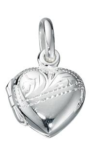 Half Engraved Heart Locket Pendant