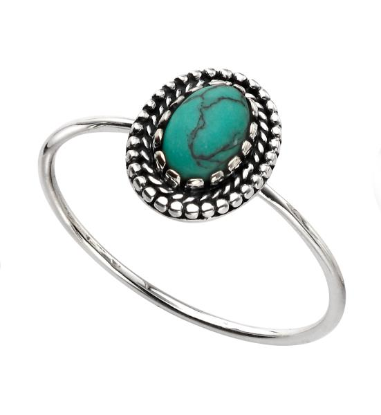 Small Oxidised Turquoise Ring