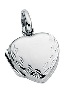 Small Silver Engraved Heart Locket Pendant