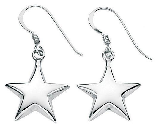 Small Puffed Star Drop Earrings