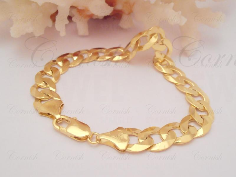 Solid 9ct Yellow Gold Curb Bracelet 8 1/4 Inches 20.70g