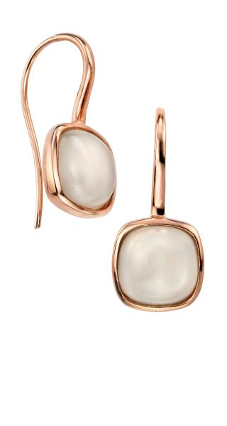 Square Cabochon Moonstone Earrings With Rose Gold