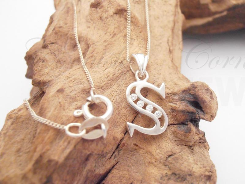 Sterling Silver Letter S Pendant & Chain