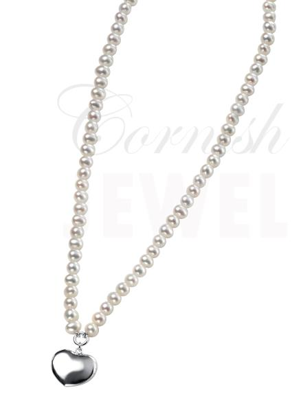 Sterling Silver Pearl Heart Charm Necklace 16-18""