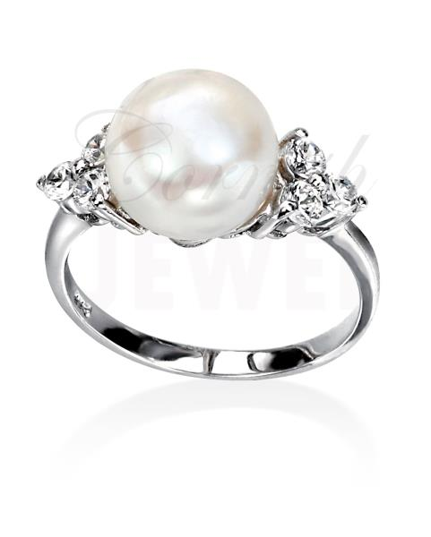 Sterling Silver Pearl Ring Cubic Zirconia Shoulders