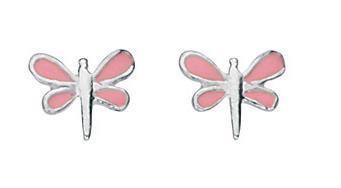 Sterling Silver Pink Enamel Dragonfly Earrings