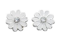 Sterling Silver White Enamel Daisy Earrings