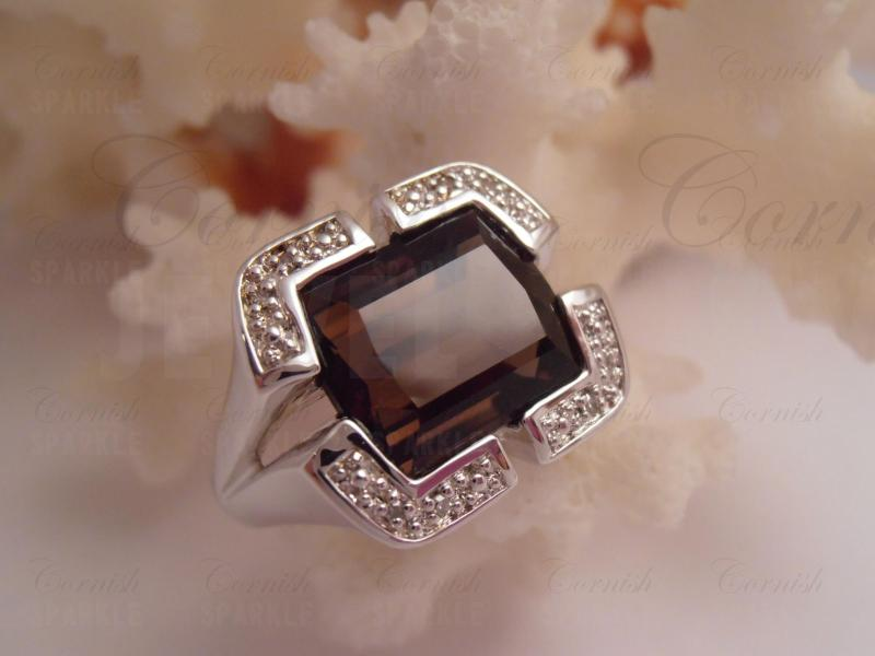 Superior Smoky Quartz Diamond Ring 925 Sterling Silver