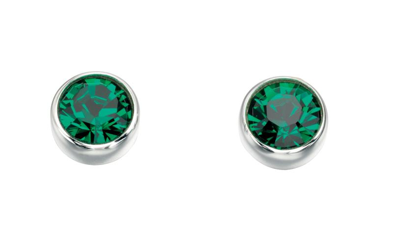 Swarovski Round Stud Earrings - Emerald
