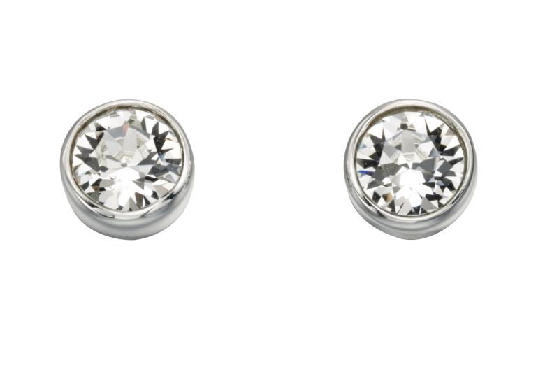 Swarovski Round Stud Earrings - Crystal