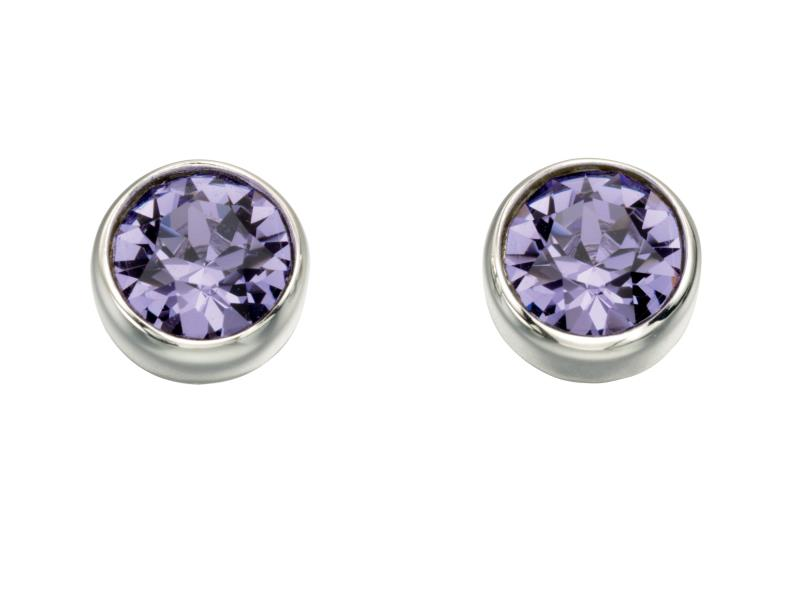 Swarovski Round Stud Earrings - Tanzanite