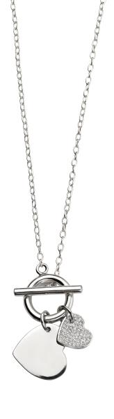T-Bar Necklacce With Double Heart Pave CZ