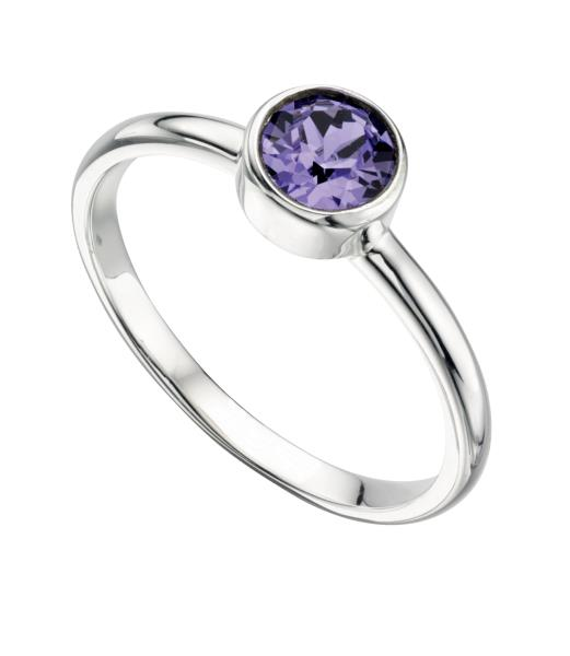 Tanzanite Colour Silver Crystal Ring