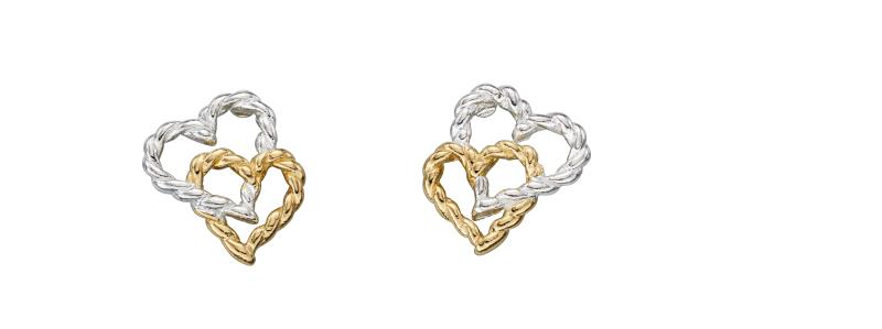 Tellow Gold Plate Rope Heart Earrings