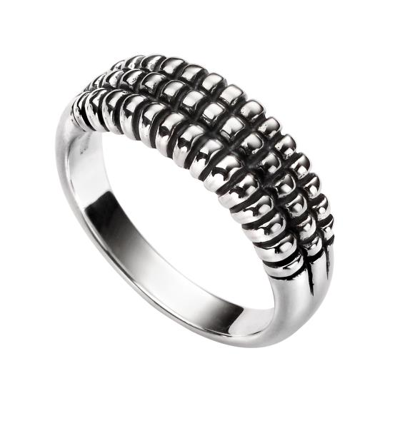 Textured Oxidised Silver Triple Row Ring