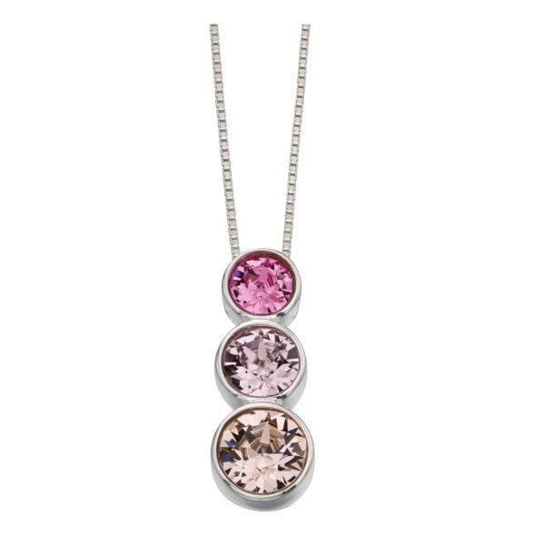 Triple Rubover Swarovski Pendant Rose, Light Amethyst And Vintage Rose