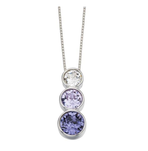 Triple Rubover Swarovski Pendant Violet And Tanzanite