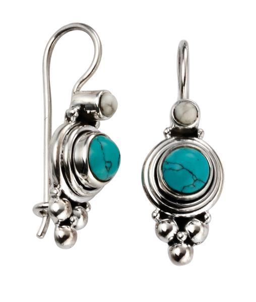 Turquoise Earrings With Oxidised Detail